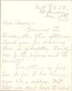 The front of Mortimer's May 18 letter to his parents.