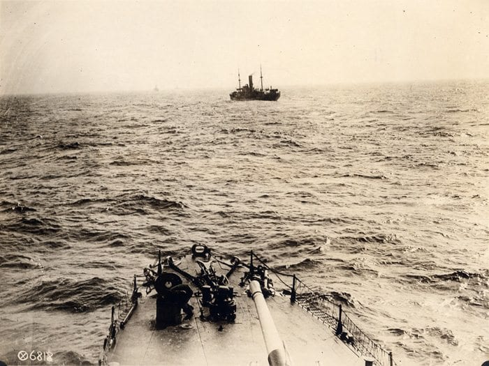 This Army Signal Corps photo provides the view from a ship crossing the Atlantic.