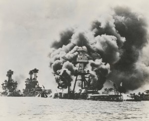 USS Arizona in flames, Image courtesy of the Navy