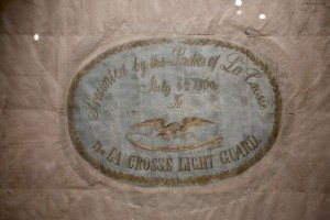 The flag has a personalized dedication painted on the front