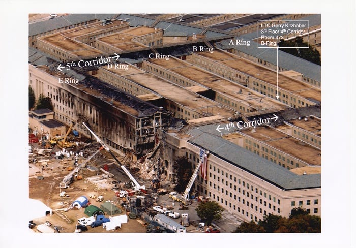 The Pentagon following the September 11, 2001, terrorist attacks, donated by Wisconsin veteran Gerry Kitzhaber, Mss2017.115.I002