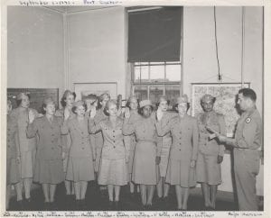 This photograph taken September 1, 1943 shows Lt. Alexander, second from left, while serving as adjutant commander of the 4621st Service Unit at Fort Custer, Michigan. WVM.0005.I044