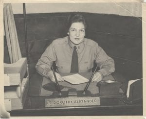 This early 1944 photograph shows Lieutenant Alexander at her desk at Camp McCoy, Wisconsin shortly before her promotion to Captain.