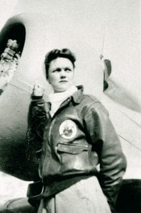 Jeanette Kapus with her plane.
