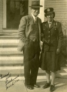 Rhonda Ziesler and her WWI-era veteran father, seen in 1944. Her dad added the caption and fancifully promoted himself to general.