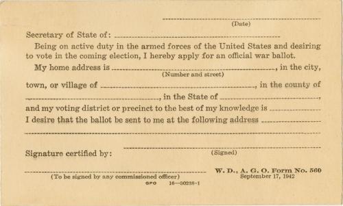 Wanserski war ballot application